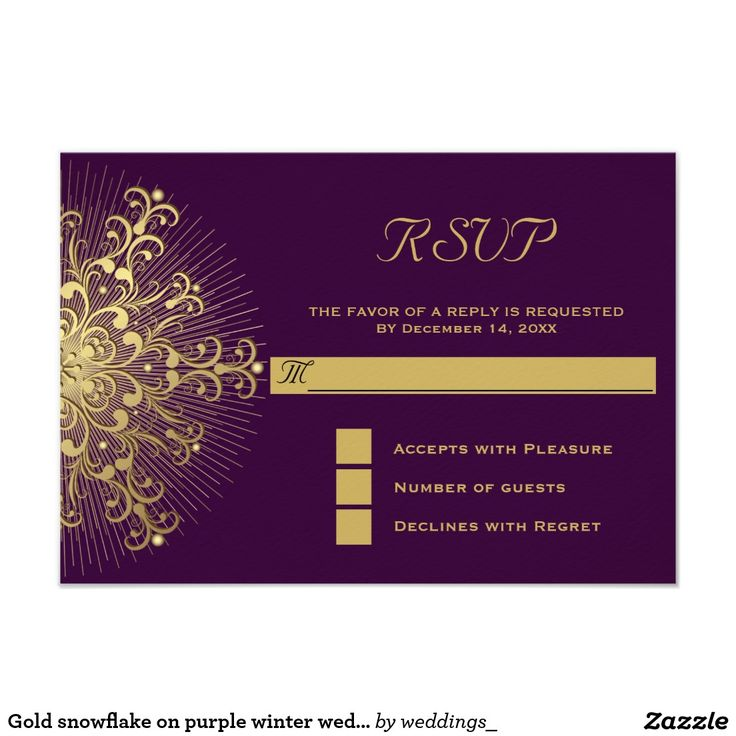 Gold snowflake on purple winter wedding RSVP reply Card