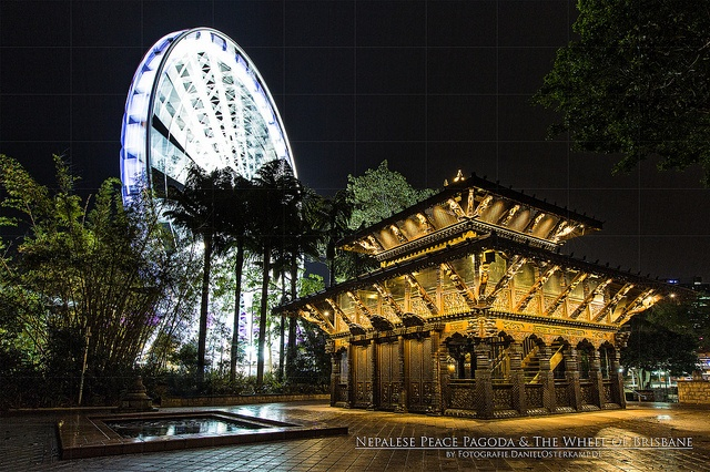 Nepalese Peace Pagoda & The Wheel of Brisbane at Night by daniel.osterkamp, via Flickr