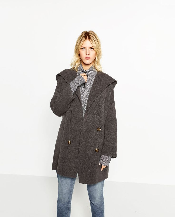 Image 2 of DOUBLE BREASTED JACKET WITH HOOD from Zara £30