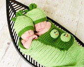 Crochet Newborn 2 Sweet Peas in a Pod Cocoon and Hat Set TWINS