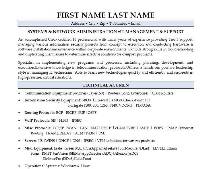 resume sample for system administrator