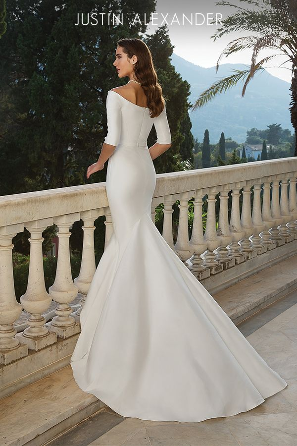 Style 88079 Stretch Mikado Pleated Trumpet Gown Modest Wedding