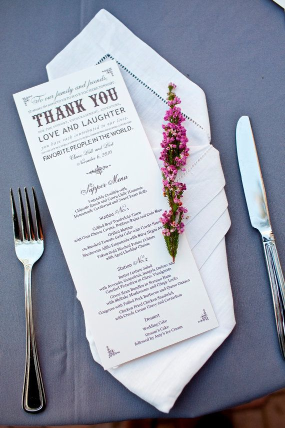 Wedding menu - I love this for couples doing stations rather than a served meal :)