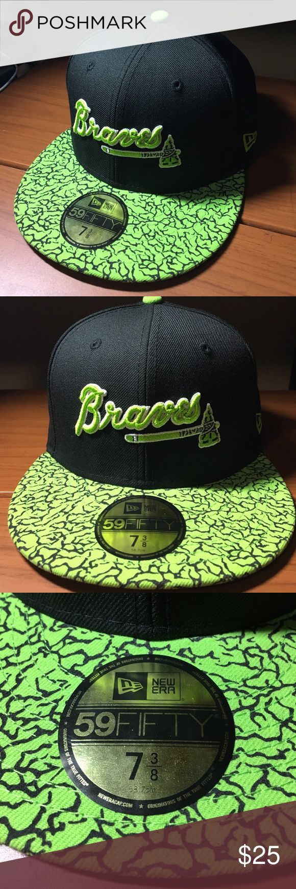 New Era Atlanta Braves hat ‼️ Brand New‼️ Atlanta braves 59fifty hat with no wear and is in great condition. Neon green lettering and front bill. Stickers attached. Size- 7 3/8. Name brand made with 80% wool and 20% polyester New Era Accessories Hats
