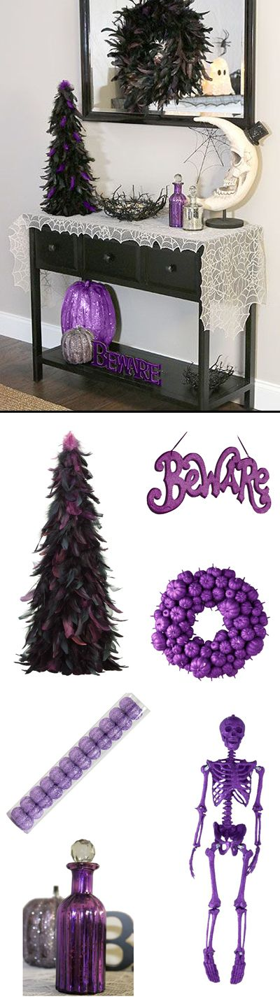 A few purple & black pieces with plenty of sparkle & bling and you have a perfectly fab Halloween vignette. Halloween Fashionista Fabulous Witches Theme Party & Decorating Ideas