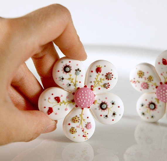 Bloom hand made polymer clay brooch in white