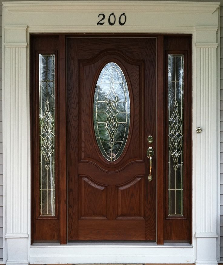Small Oval Stained Fiberglass Door With Sidelights Door