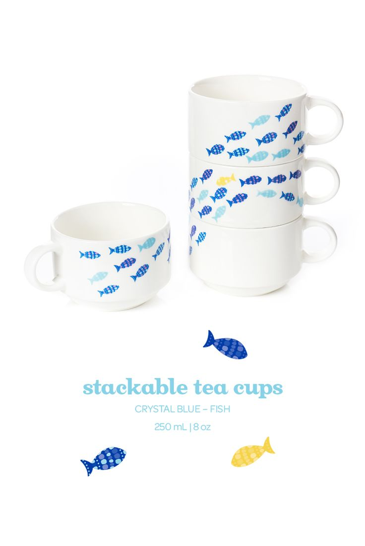A set of four stackable porcelain cups, in a fun continuous fish design.