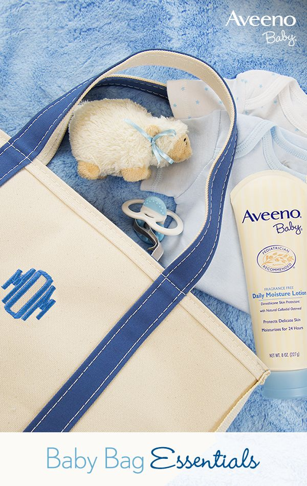Baby Bag Packing Pro-Tip: Keep a bottle of AVEENO® Baby Daily Moisture Lotion close by so you can nourish baby's skin on the go. This pediatrician recommended lotion protects baby's delicate skin and moisturizes for 24 hours.