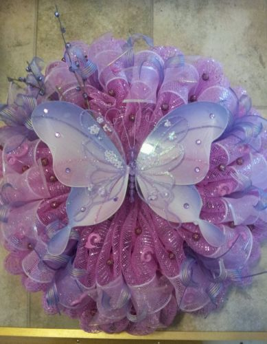 Spring Mothers Day Butterfly Deco Mesh Ribbon Wreath Pink Purple Lilac | eBay