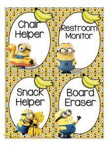 Minion Classroom Helpers Clip Chart ~ Jobs Chart + Editable Tags