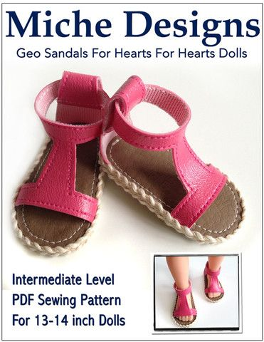 Geo Sandals 13 inch Hearts 4 Hearts Doll Shoe PDF Pattern Download | Pixie Faire