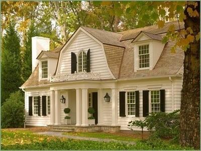 This is so quaint and perfect.: Farmhouse Chic, Idea, Dream Homes, Dream House, Black Shutters, Cottages, Dutch Colonial, White House, Dreamhom