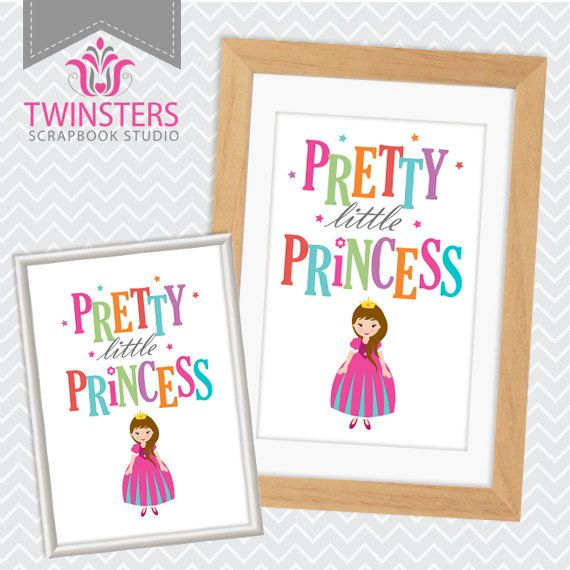 "Pretty Little Princess - printable pink kids room wall decor 8x10"", 5x7"" ? wordart TW121 INSTANT DOWNLOAD"
