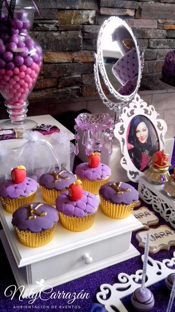 Descendants Maleficent's daughter birthday party cupcakes! See more party planning ideas at CatchMyParty.com!