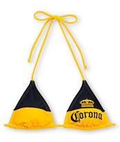 Corona Swim Bottle Label Gold Triangle Bikini Top