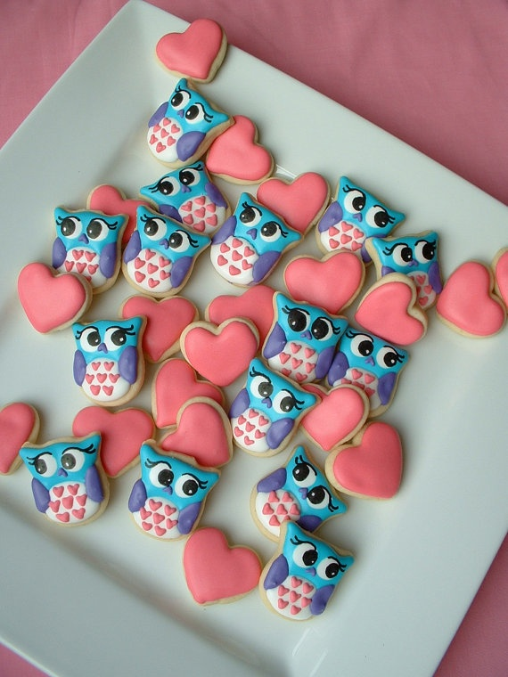 Owls and Hearts - Valentine Cookies - 2 dozen ADORABLE AGAIN! :o)