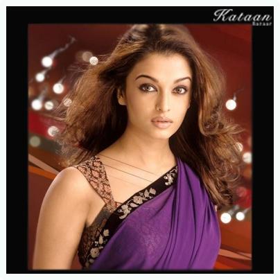 The gorgeous Aishwarya in a stunning purple saree