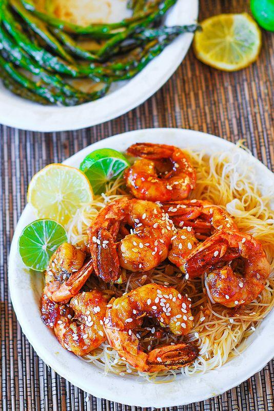 Shrimp teriyaki over rice noodles, seafood recipes, shellfish recipes ...