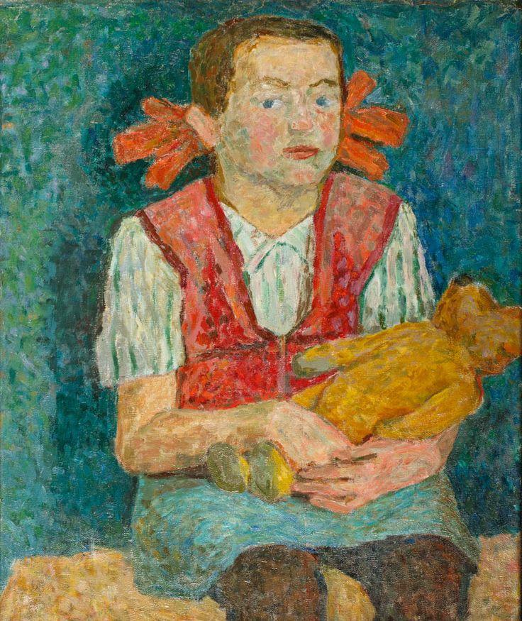 ANDRZEJ WRÓBLEWSKI (1927 - 1957)  DZIEWCZYNKA Z MISIEM, 1946   olej, płótno / 52 x 43 cm