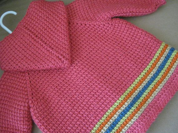 Crochet Baby Girl Sweater with Hood MADE TO by ForBabyCreations