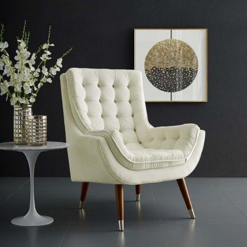 Awesome So Comfortable Tufted Ivory Cream Velvet Lounge Chair In Gmtry Best Dining Table And Chair Ideas Images Gmtryco