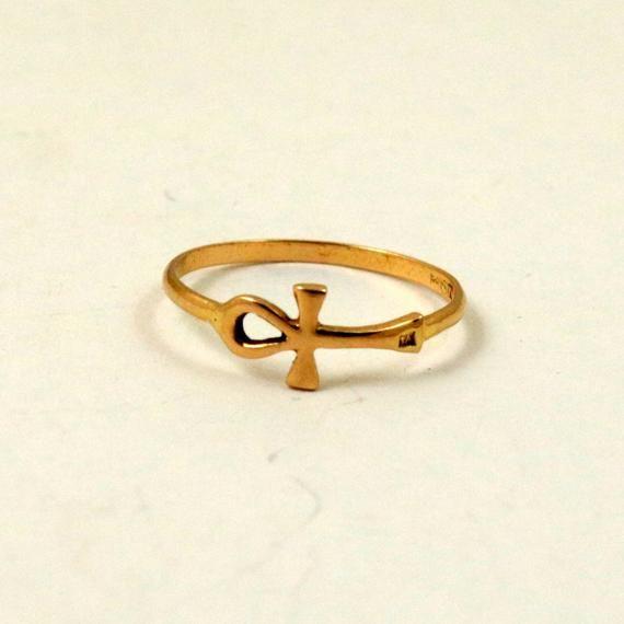 Egyptian Hallmarked 18k Gold Ankh Ring Us Size 5 75 Uk Size L 18k Gold Rings Dainty Ring
