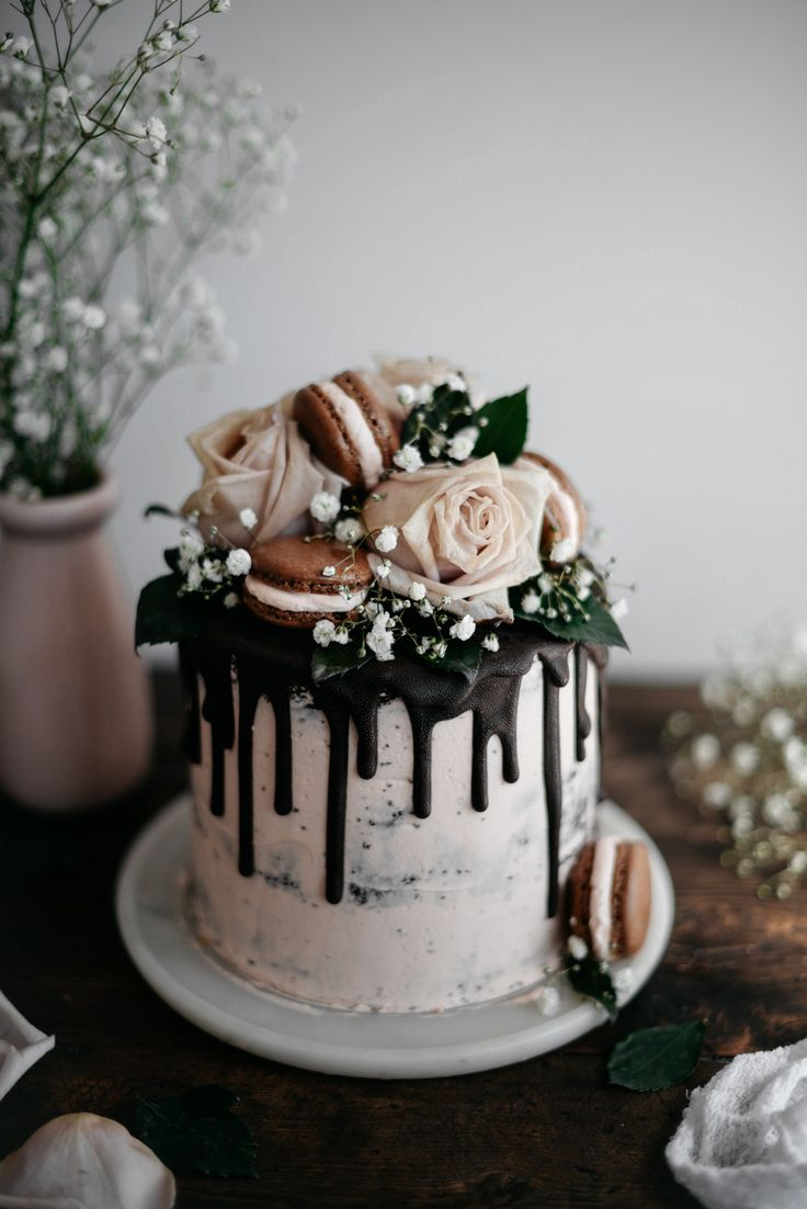 Stunning Dark Chocolate and Raspberry Cake with Earl Grey Swiss Meringue Buttercream from butter and brioche