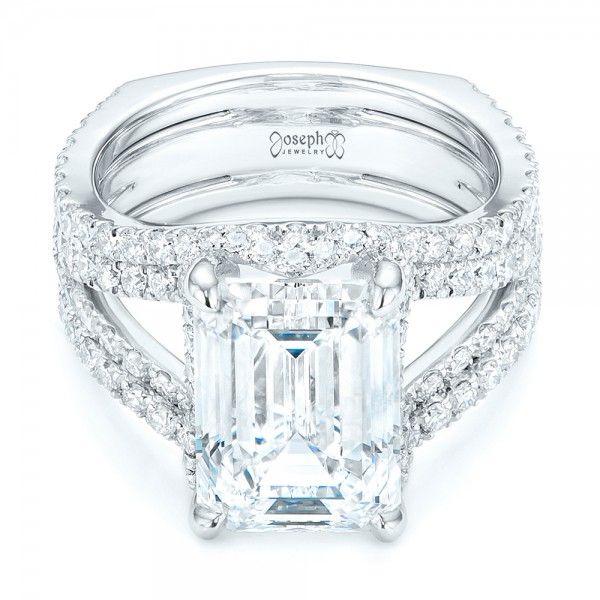 custom split shank emerald cut engagement ring