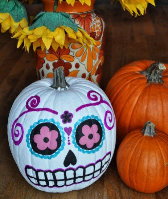 Sugar Skull No Carve Pumpkins