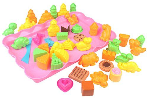 Motion Sand, 44 Pieces Assorted Molds with Sand Tray, Color Sand Molds, Play Sand, Sand Toys Compatible with Kinetic Sand, Sands Alive - Product Description:Safe, nontoxic and light-weight, for on the go fun! Motion Sand is helpful in promoting children's imagination and creation, improving coordination between hand and brain, and stimulating nerve growth of child brainSand not included. However, bulk options of natural and colore...