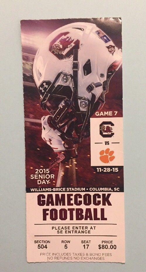 2015 South Carolina Gamecocks vs Clemson Tigers Football Ticket Original  | eBay