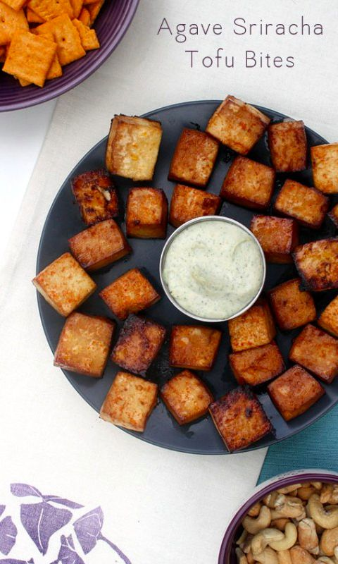 Sweet-and-spicy Agave Sriracha Tofu Bites are perfect dipped in creamy cashew ranch. Serve them as an appetizer or as party finger food.