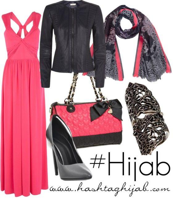 Pink dress, leather jacket, printed scarf, grey heels, silver ring