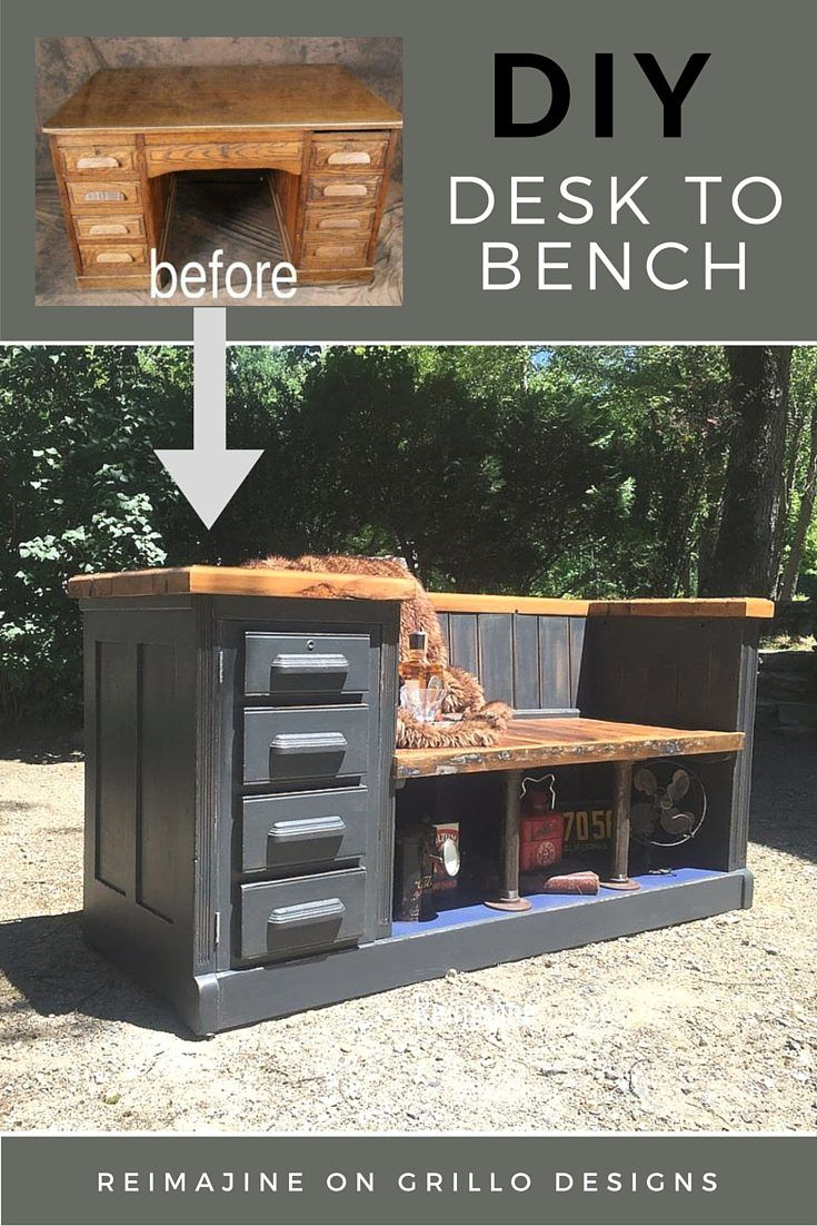You can turn an old desk into a functional #DIY bench for a mudroom or children's room.