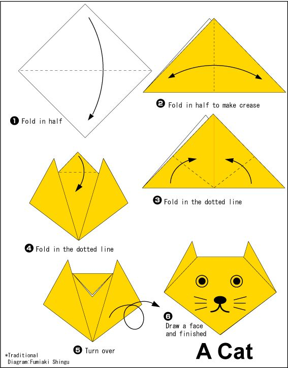 Easy Origami For Kids | Cat
