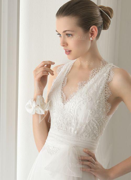 Robes de mariée - $148.73 - Forme Princesse Col V alayage/Pinceau train Mousseline Organza Robe de mariée avec Dentelle Emperler Sequins (0025058646)
