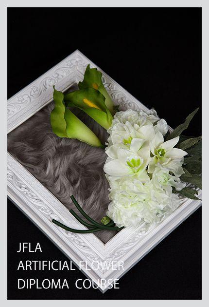 JFLA Artificial Flower DIploma Class.Flame Winter Arrangement.アーティフィシャルフラワー認定資格で学ぶフレームアレンジメントです。実践で使用出来るワイヤリング方法、アーティフィシャルフラワーだから実現できるファーとのミックスアレンジを習得します。