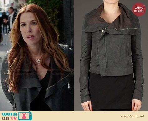 Carrie's grey shawl collar leather jacket on Unforgettable.  Outfit Details: http://wornontv.net/34246/ #Unforgettable