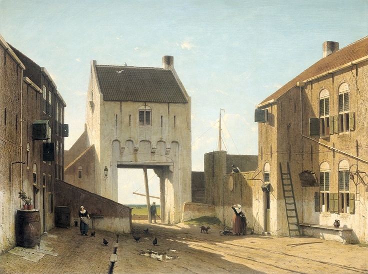 Jan Hendrik Weissenbruch (Dutch, 1824-1903) Citygate at Leerdam