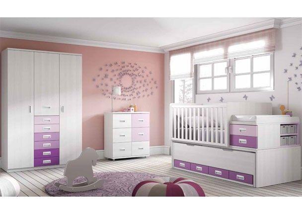 Habitación Bebé con cuna convertible y armario 3p