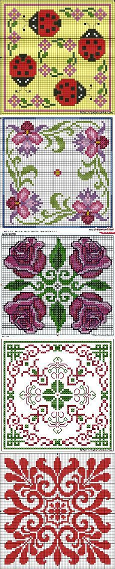 Cross-stitch Assorted Biscornus ... no color chart available, just use pattern chart as your color guide.. or choose your own colors... Biskornyu - schemes for cross stitch.