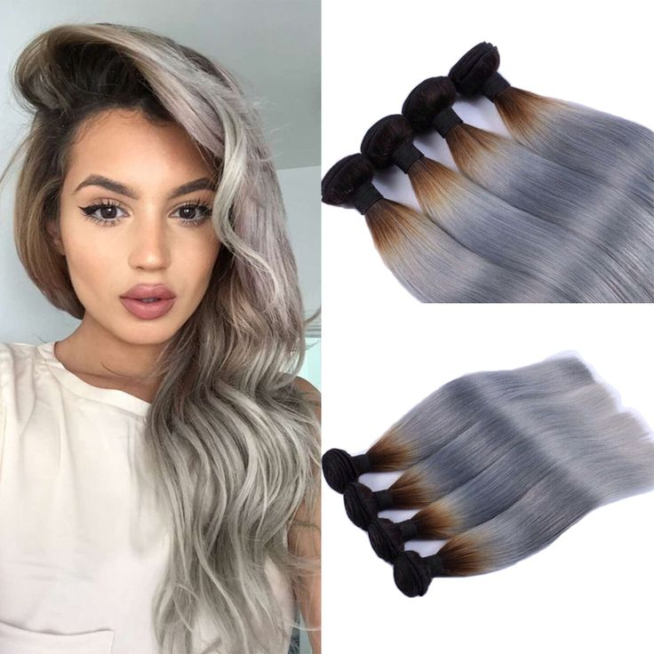 23 best ombre gray hair weave images on pinterest salems lot 2pcslot peruvian virgin hair ombre grey weave silver grey hair straight hair extension ombre pmusecretfo Images