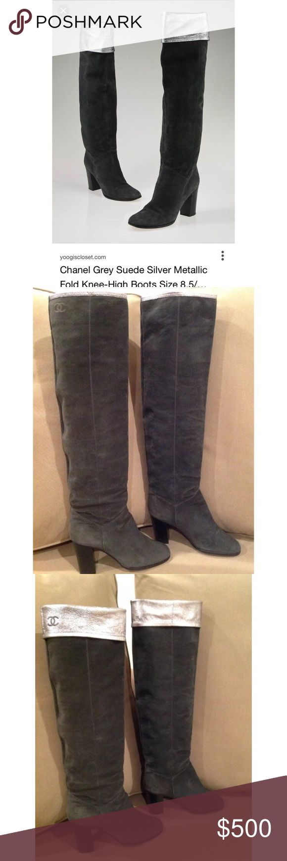 """Chanel Knee Length Suede Leather boots 38.5 US 8 100% AUTHENTIC. Chanel over the knee gray suede boots with silver cuff. CC embroidery on the silver cuff. Cuff length is regulated by the size of the cuff. Can be worn thigh high, with cuff or slouchy. Size 38.5, fit size 8, about 9 3/4"""" long inside the shoe. Length without cuff from the bottom of the heel to the top of the boot is about 25.3"""". Hill height about 3.3"""". Used several times only, the sing of wear on the bottom of the boots and…"""