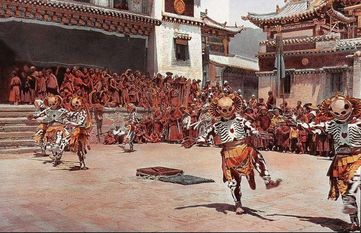 Joseph Rock. Tibetan Skeleton Dancers. 1925 (1927?).