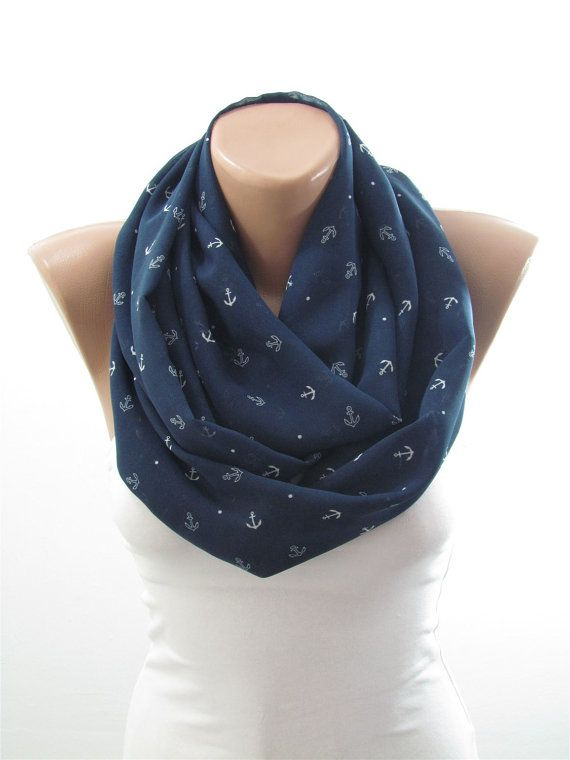 Anchor Scarf Infinity Scarf Navy Blue Circle Scarf Nautical Scarf Sailor Scarf Fall Winter Women Fashion Accessory Christmas Gifts For Her