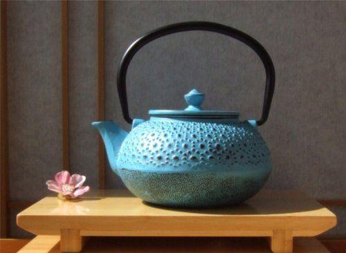 Cast Iron Light Blue Tetsubin teapot kettle 0.6 litre