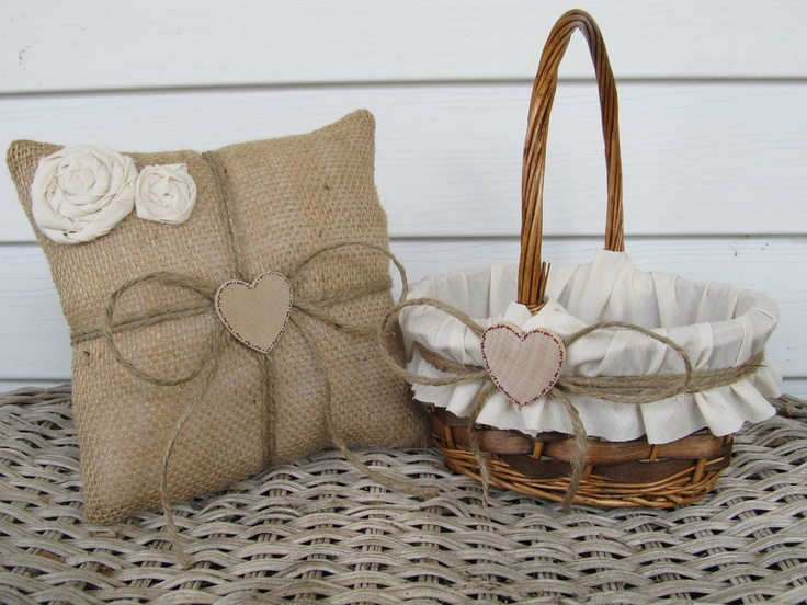 Personalized Rustic Flower Girl Basket and Ring Bearer Pillow. $45.00, via Etsy.