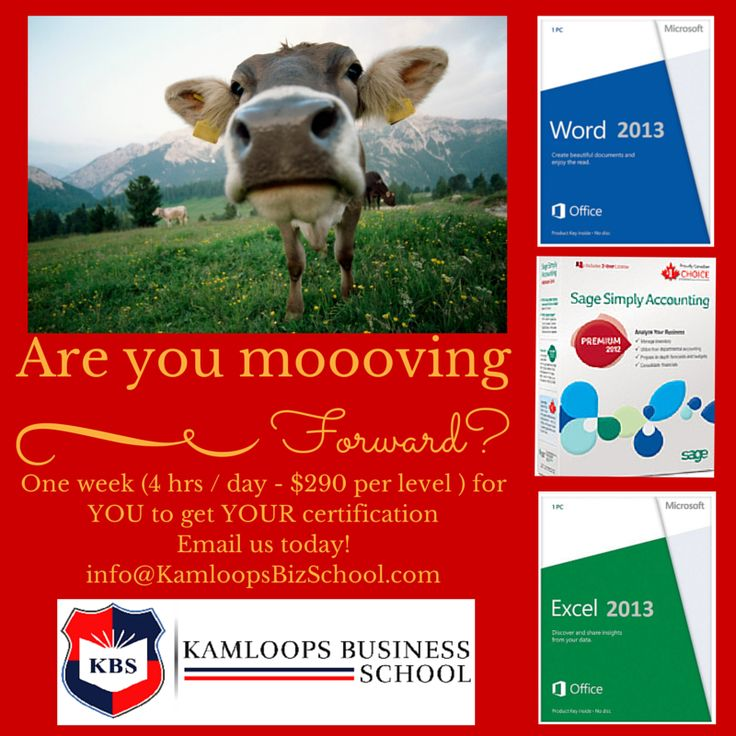 """Are YOU """"moooving"""" FORWARD ? Upgrade your #Microsoft Office skills today with our introductory courses for only $290.00 each for #Microsoft #Word and #Microsoft #Excel.  #Sage50 #SimplyAccounting is a two level course for $560.00 (less than $290.00 per level).  Email us today at: info@KamloopsBusinessSchool.com"""