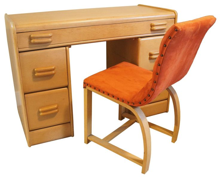 "This rare Heywood-Wakefield Kneehole desk model C3328W in ""bleached"" finish (see picture) was produced between 1937-39 in Gardner, Massachusetts."